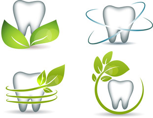 Healthy teeth with green leafs
