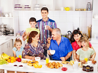 Wall Mural - Big happy family have breakfast.