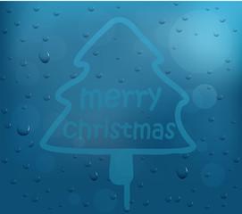 Christmas tree on glass window