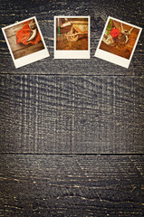 Old polaroid gardening pictures on rustic wooden background