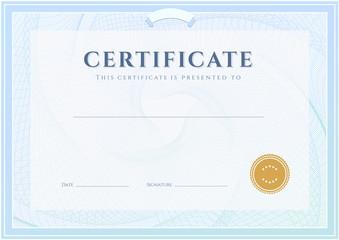 Certificate / Diploma template (design). Guilloche pattern