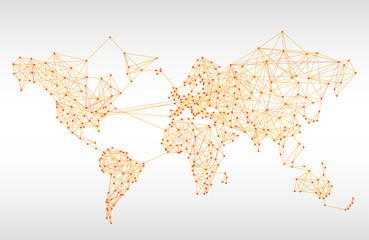 Abstract telecommunication world map