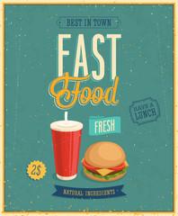 Wall Mural - Vintage Fast Food Poster. Vector illustration.