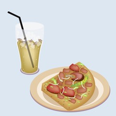 Delicious Sliced Pizza on Dish with Lemon Iced Tea