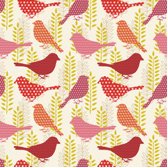 Wall Mural - Birds seamless pattern