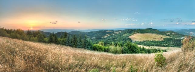 Acrylic Prints Village landscape, view from Paradajs towards Vtacnik mountain