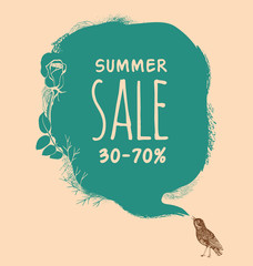 Background to the nightingale and blot. Summer sale