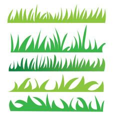 Set of green grass illustration vector