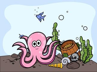 Octopus with Sunken Treasure - Vector Illustration