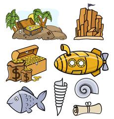 Various Icons and Pirates Vectors - Cartoon Vector Illustration