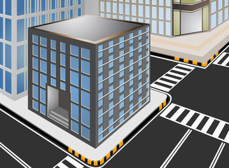Townscape with city street vector cartoon background