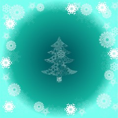 Christmas tree on green background with snowflake