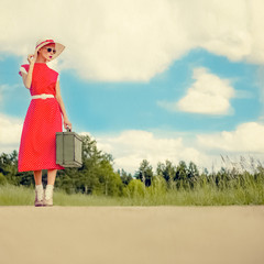 Portrait of a girl traveling retro style