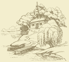 Vector landscape. Old hut on a hill above the river