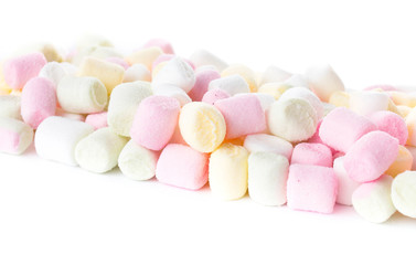 Colorful different  Fluffy Round Marshmallow isolated on white b