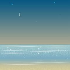 Illustration of night sea landscape