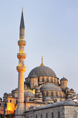 Minaret and Dome in evening Yenicami-istanbul Turkey
