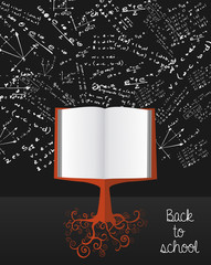 Education back to school book tree over chalkboard.