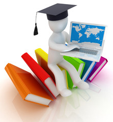 3d man in graduation hat sitting on books and laptop