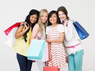 Group Of Teenage Girl With Shopping Bags
