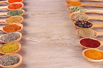 Foto op Aluminium Kruiden 2 Assortment of spices in wooden spoons on wooden background