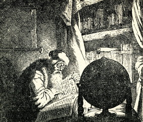 Scientist with books and globe (1634)