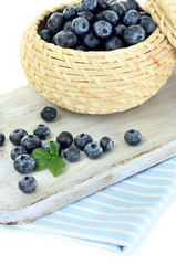Blueberries in wooden basket