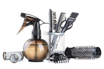 Professional hairdresser tools, isolated on white
