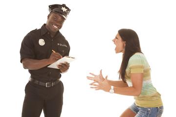 woman mad at policeman