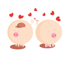 Two lovers pig. a boy and a girl. card. Valentine's Day