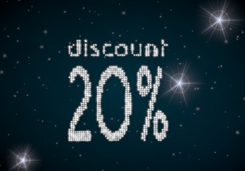 3d render of a glowing discount symbol glittering on night sky