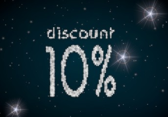 3d graphic of a glowing discount symbol glittering on night sky