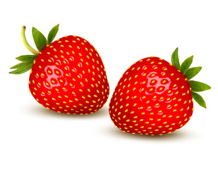 Ripe strawberry with leaves. Vector.
