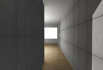Abstract interior with bare concrete wall and wood floor