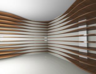Curve wood shelfs, abstract interior