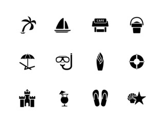 Beach icons on white background.