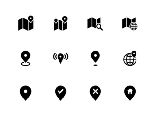 Map icons on white background. GPS and Navigation.