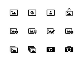 Photographs and Camera icons on white background.