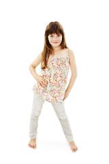 Happy little girl posing on white background