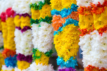 Indian colorful flower garlands