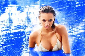 Beautiful swimmer in open water