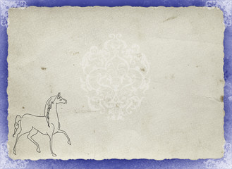 old paper with the symbol of the horse of the year