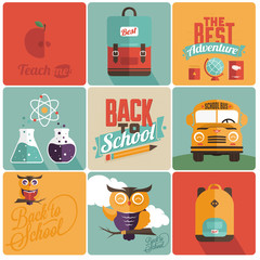 Back to school Retro emblems - vector backgrounds