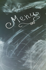 Chalkboard with word menu and copy space