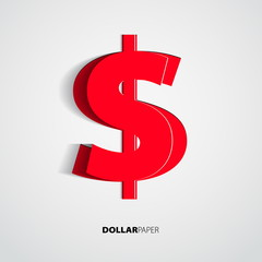 Dollar from paper on isolated white background