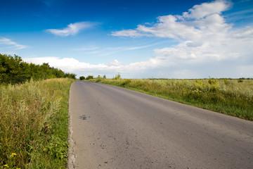 old asphalt road on nature