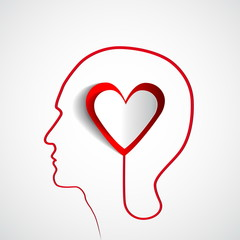 Human head with paper heart - symbol Love and relationship -