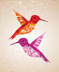 Poster Geometric animals Colorful humming birds art background illustration.