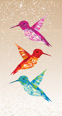 Deurstickers Geometrische dieren Colorful humming birds illustration.