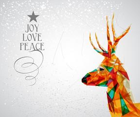 Canvas Prints Geometric animals Merry Christmas reindeer shape.